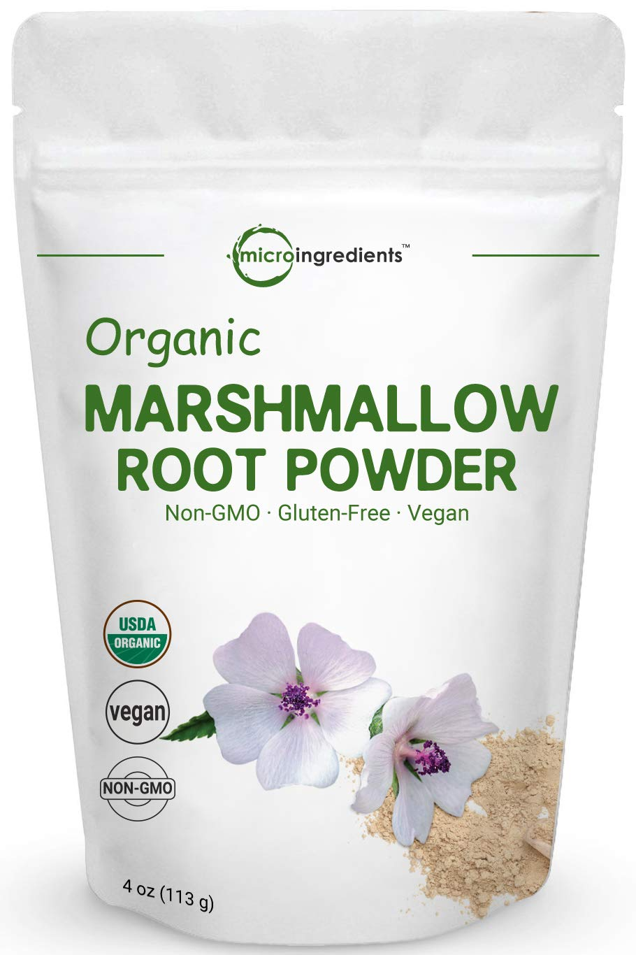 Pure USDA Organic Marshmallow Root Powder, 4 Ounce, Supports Digestive Gastrointestinal Health, No Irradiated, No Contaminated and No GMOs. Vegan Friendly.