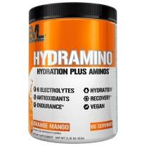 HYDRAMINO Complete Hydration Multiplier, All 6 Electrolytes, Vitamin C & B, Fluid Boosting Aminos, Coconut Water, Endurance & Recovery, Immunity Support, Antioxidants, 0 Sugar, 60 Serve, Orange Mango