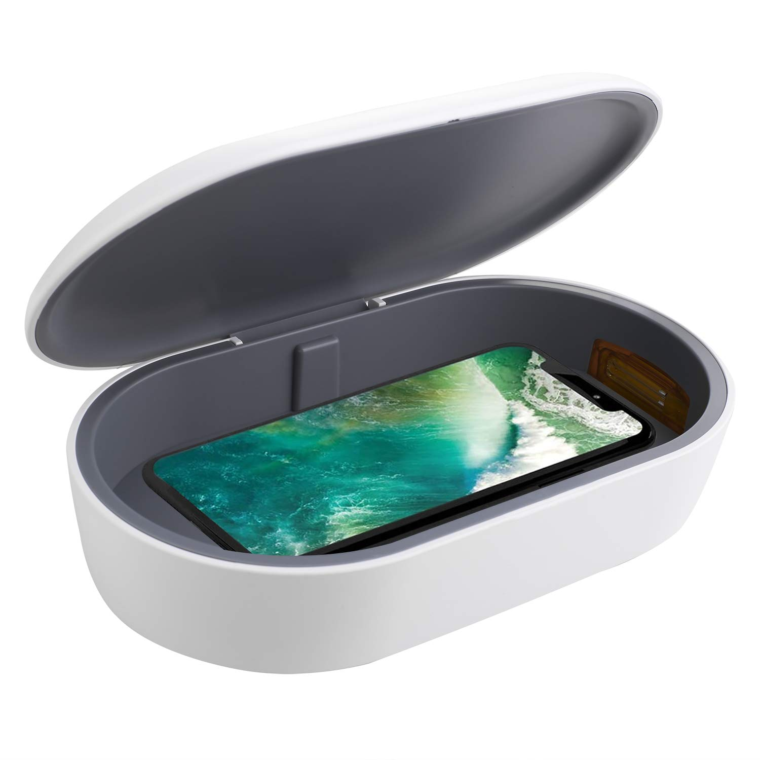 icyber Smart Phone Sanitizer Portable UV Lights Cell Phone Sanitizer Sterilizer Cleaner Box with 10W Fast Wireless Charger Aromatherapy Function Disinfector for iPhone Android Cellphone Toothbrush