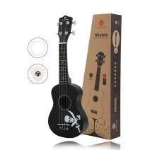 MUSICUBE 21 Inch Soprano Ukulele, Superior quality music toy, Picks and Spare Strings, Color Series, (Black)