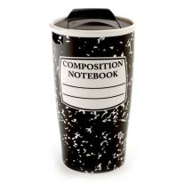 """Our Name is Mud """"Composition Notebook"""" Stoneware Travel Mug, 14 oz."""