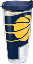 Tervis 1275156 NBA Indiana Pacers Colossal Tumbler with Wrap and Navy Lid 24oz, Clear
