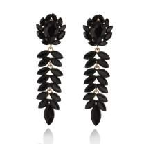 Women's Austrian Crystals Floral Descending Leaf Clip On Dangle Cascade Fashion Earrings