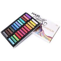 HAIREALM Hair Chalk, Temporary Hair Chalk Pens, Hair Chalk Set, Non-toxic Washable Hair Color, for Kids Hair Dyeing Party, Cosplay 24 Colors CK24