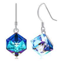 Cat Eye Jewels S925 Sterling Silver Swarovski Elements Crystal Dangle Stud Earrings for Women Girls