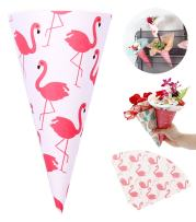 Self-Adhesive Flower Packaging Paper Bouquet Wrapper Candy Food Paper Conesfrom Ocharzy (20 pcs, Flamingo)