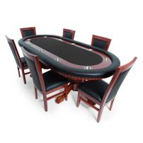 BBO Poker Rockwell Poker Table for 10 Players with Felt Playing Surface, 94 x 44-Inch Oval, Includes 6 Dining or Lounge Chairs