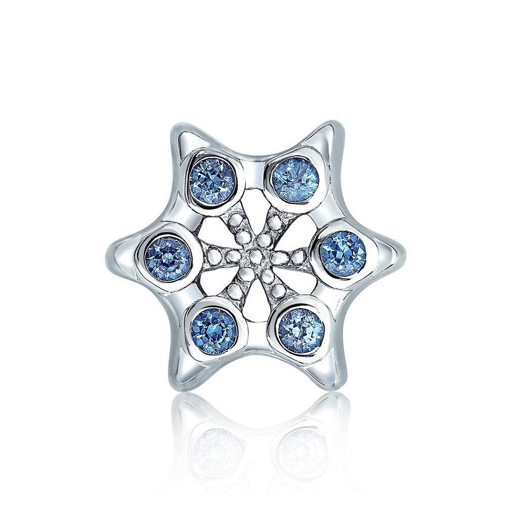 Winter Holiday Christmas Snowflake Shape Blue Cubic Zirconia Bead CZ Charm Sterling Silver For Women European Bracelet