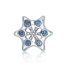 Winter Holiday Christmas Snowflake Shape Blue Cubic Zirconia Bead CZ Charm Sterling Silver For Women European Bracelet