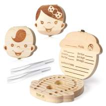 Magicfour Baby Tooth Box, 2 Pack Wooden Baby Tooth Keepsake Box Baby Tooth Organizer Baby Tooth Holder Baby Tooth Container Case with Tweezers for Baby Teeth