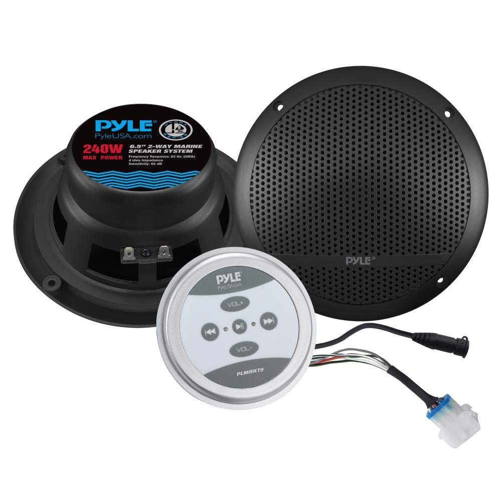 """Pyle Bluetooth Marine Grade Flush Mount 2-Way Speaker System Amplified Full Range Stereo Sound Dual Cone Dome Waterproof Universal Use Vehicle Home with Aux 3.5mm Input Pair 6.5"""" 240 Watts (PLMRKT9)"""