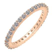Dazzlingrock Collection 1.00 Carat (ctw) 14K Gold Round Lab Grown Diamond Ladies Eternity Stackable Ring Wedding Band 1 CT