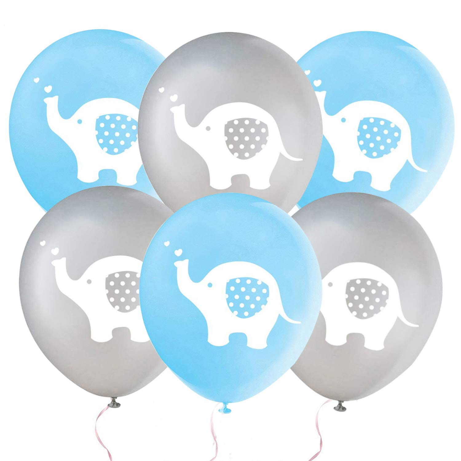 32 Pieces Elephant Balloon Baby Shower Boy Blue and Grey Elephant Latex Balloons for Kids Birthday Party Gender Reveal Animal Themed Party Supplies(Blue & Grey)