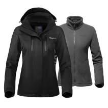 OutdoorMaster Women's 3-in-1 Ski Jacket - Winter Jacket Set with Fleece Liner Jacket & Hooded Waterproof Shell - for Women