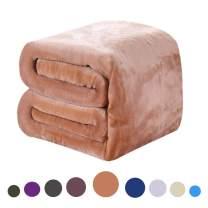 DREAMFLYLIFE Luxury Fleece Blanket Summer All Season Thick Blanket Super Soft Blanket Bed Warm Blanket Couch Blanket Tan Twin-Size, 66x90 in