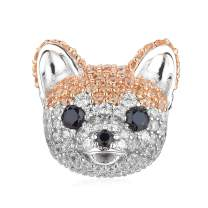 ATHENAIE 925 Sterling Silver Mixed CZ Cute Akita Bichon French Bulldog Puppy Dog Charms Animal Bead for Bracelet
