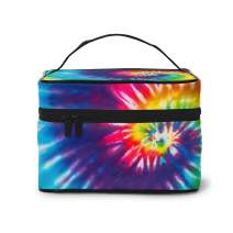 AHOOCUSTOM Makeup Bag Colorful Tie Dye Portable Travel Cosmetic Bags Organizer Multifunction Case Toiletry Bags for Women Girls