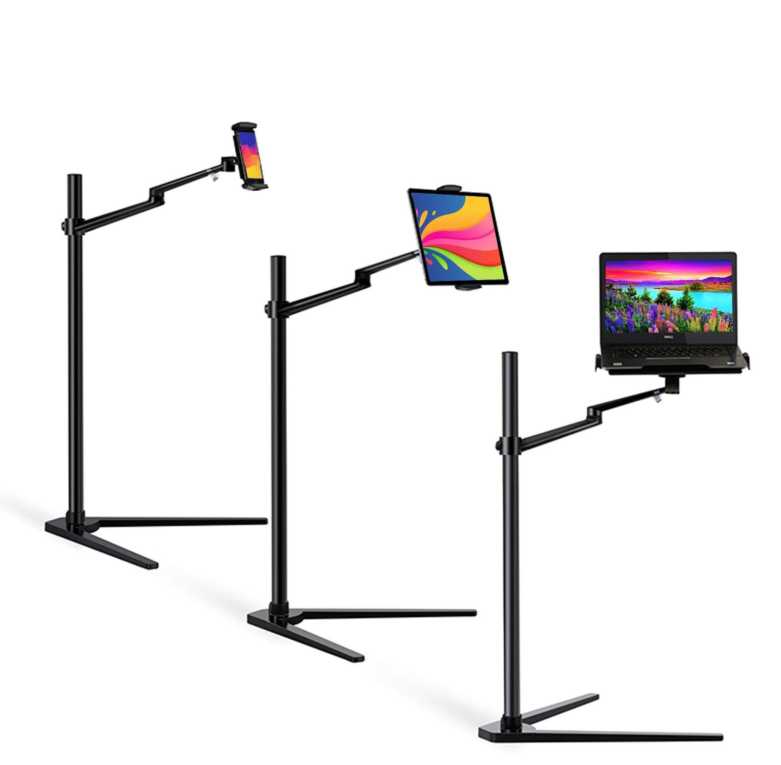 """MagicHold 3 in 1 360º Rotating Height Adjusting Laptop Stand/Ipad Pro 12.9""""/iPAD iPAD Mini/Tablet Bed Floor Stand for Laptop(13-15.6 inch) (Black)"""