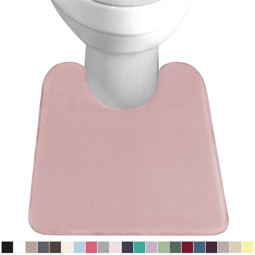 Gorilla Grip Original Thick Memory Foam Contour Toilet Bath Rug 22.5x19.5, U Shape, Cushioned, Soft Floor Mats, Absorbent Cozy Bathroom Mat Rugs, Machine Wash and Dry, Plush Bath Room Carpet, Pink