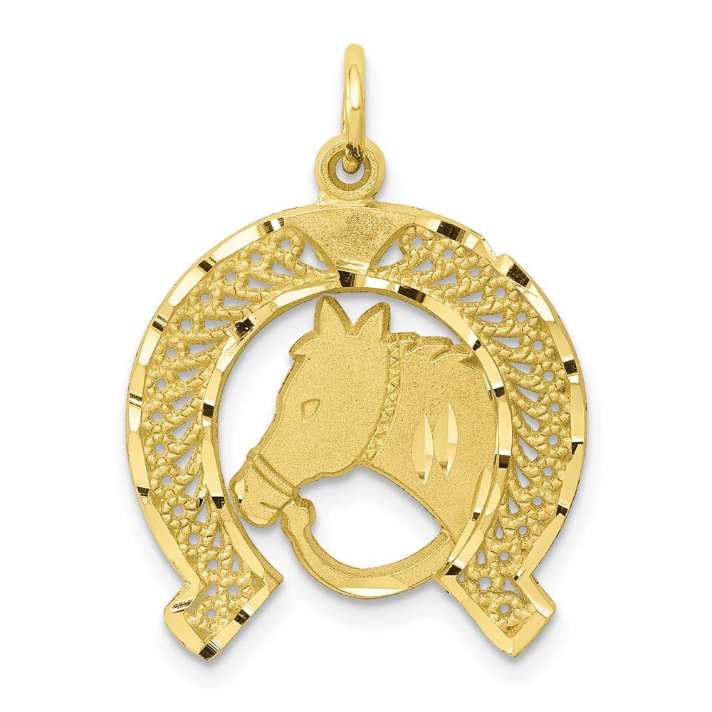 10k Yellow Gold Solid Flat Backed Horsehead In Horseshoe Pendant Charm Necklace Animal Horse Fine Jewelry For Women Gifts For Her
