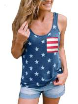 Ritatte Women's July 4th American Flag Sleeveless Tank Top with Pocket