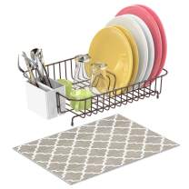 Dish Drying Rack, F-color Rustproof Dish Rack with Microfiber Dish Drainer Mat, Wire Dish Rack with Utensil Holder Dish Holder for Kitchen Countertop, 13.8 x 10.6 x 3.5 inch, Bronze