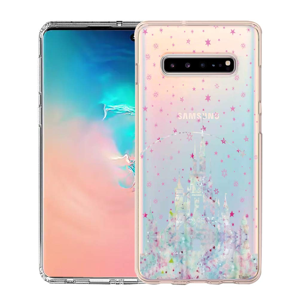 Unov Galaxy S10 5G Case Clear with Design Soft TPU Shock Absorption Embossed Pattern Slim Protective Back Cover for Galaxy S10 5G Version 6.7inch (Watercolor Castle)