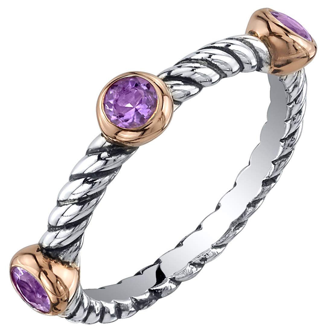 Peora Sterling Silver 3-Stone Stackable Ring in Natural, Created and Simulated Gemstones, Cable Rope Band for Women 2.1mm Sizes 5 to 9