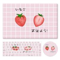 """HRH 3 in 1 Strawberry Design PC Plastic Hard Case Cover with Silicone Keyboard Cover&Mouse Pad for MacBook New Air 13"""" with Retina Display fit Fingerprint Touch ID (Model A1932,2018 Release)"""