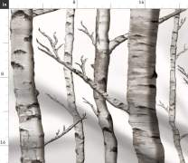 Spoonflower Fabric - Birch, Grove, Aspen, Tree, Woodland, Forest, Grey, Black, White, Woods Printed on Modern Jersey Fabric by The Yard - Fashion Apparel Clothing with 4-Way Stretch