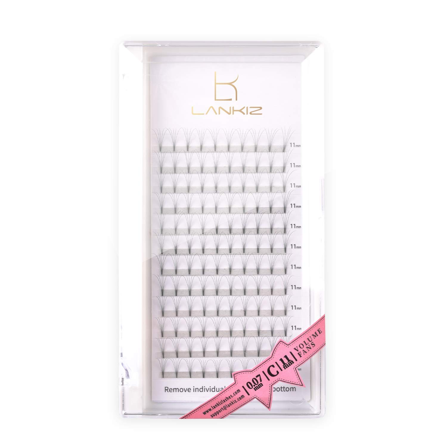 LANKIZ Premade Fans Eyelash Extensions 5D 0.07mm D Curl 12mm Russian Volume Lash Extensions Individual Volume Lashes 8-16mm Pre Made Lash Fans