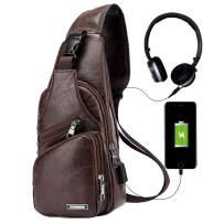 Men Sling Bag,Chest Shoulder Backpack,Water waterproof PU Crossbody Bag with USB Charging Port Business Purse (Khaki)
