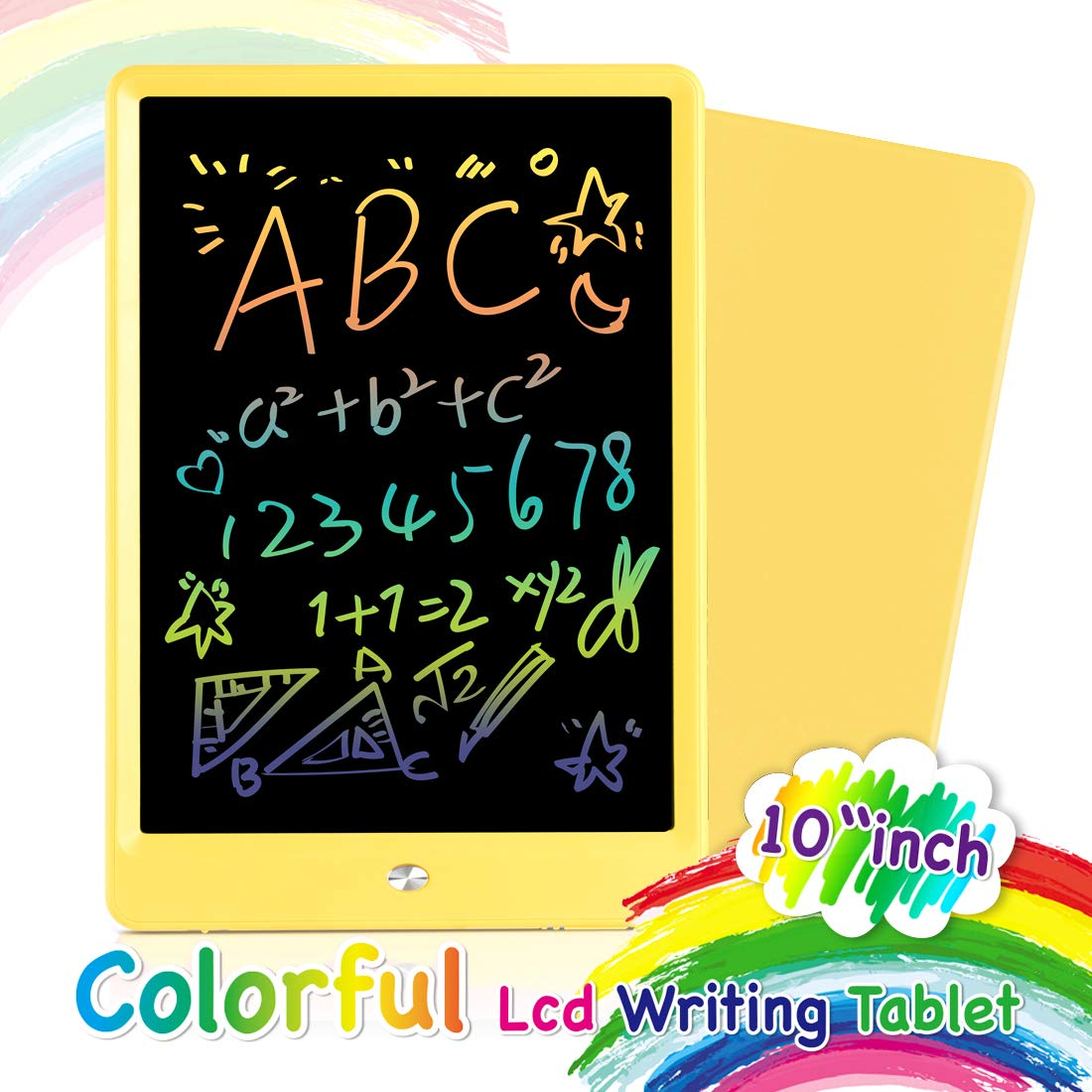 Orsen LCD Writing Tablet 10 Inch, Colorful Doodle Board Drawing Tablet, Erasable Reusable Writing Pad, Educational Boys Girls Toys Gifts for 2-6 Year Old Girls Boys(Yellow)
