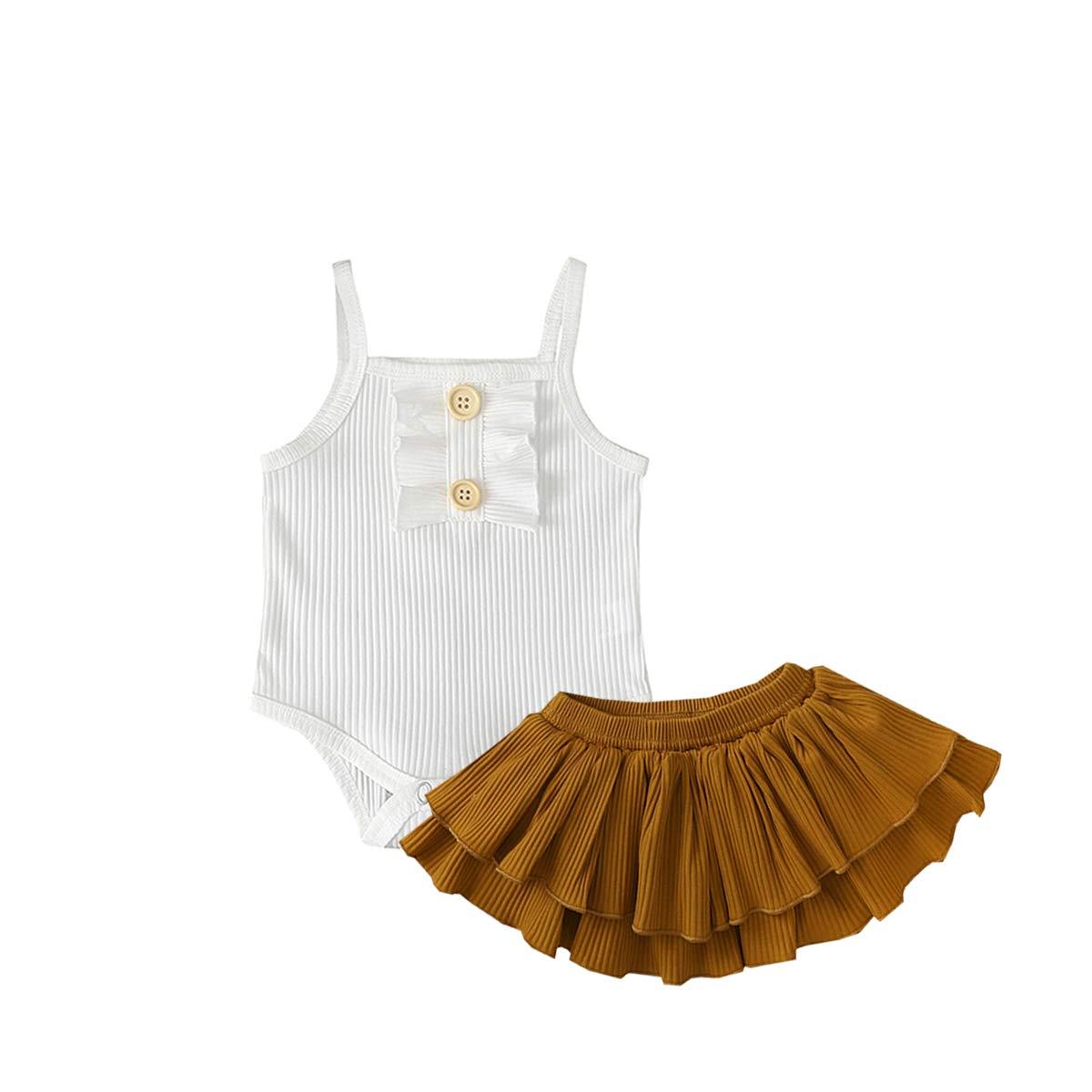 Newborn Infant Baby Girls Summer Outfits Ruffle Button Halter Romper Shorts Skirt Pants Bowknot Headband 3Pcs Clothes Sets