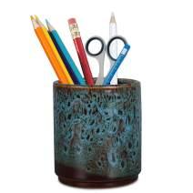 Teagas Retro Desk Pencil and Pen Holder Ceramic Glaze Pen Cup Makeup Brush Holder Creative Desk Organizer Blue