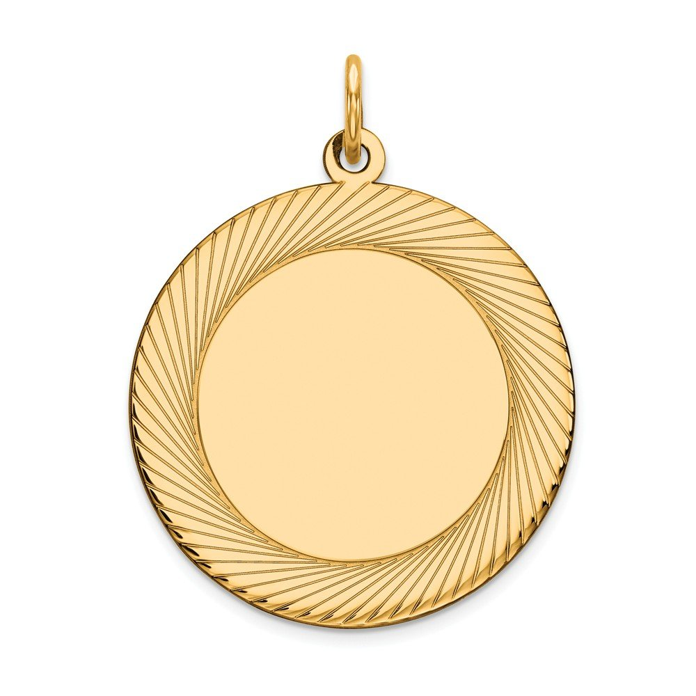 14k Yellow Gold Etched Design .018 Gauge Circular Engravable Disc Pendant Charm Necklace Round Lasered Fine Jewelry For Women Gifts For Her