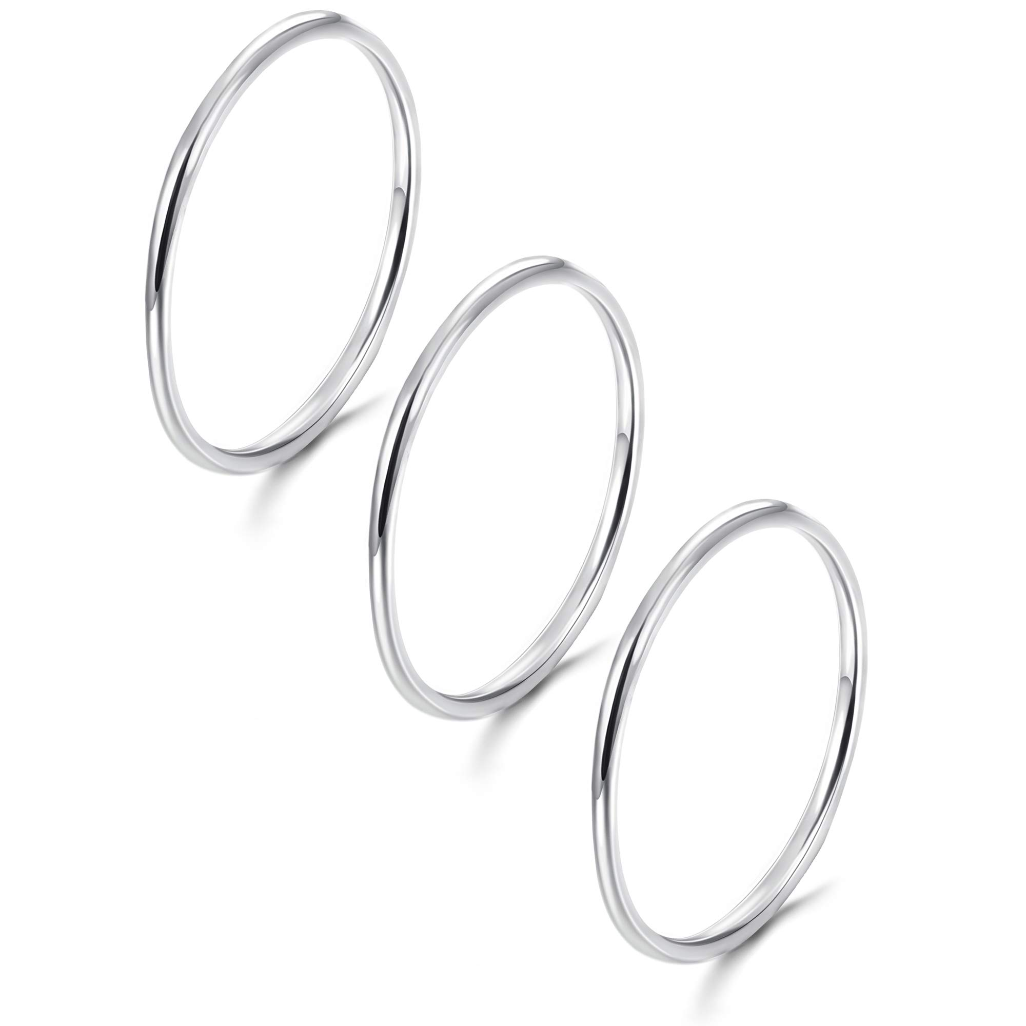 Sllaiss 3pcs Knuckle Stackable Rings 925 Sterling Silver Midi Stacking Rings for Women Finger Band Stacking Rings Set Hypoallergenic 1mm