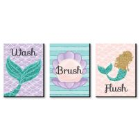 Big Dot of Happiness Let's Be Mermaids - Kids Bathroom Rules Wall Art - 7.5 x 10 inches - Set of 3 Signs - Wash, Brush, Flush