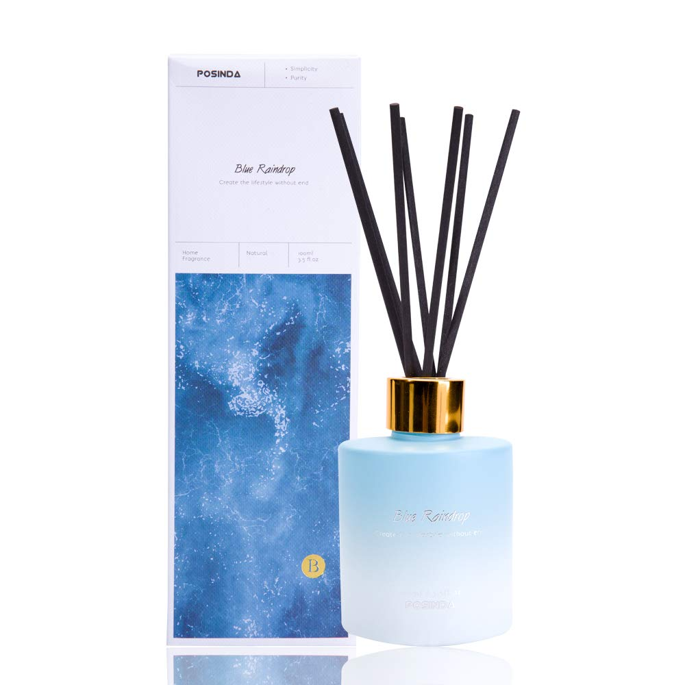 Posinda Reed Diffuser Gift Set 3.5fl.oz 100ml Diffuser Oil and Sticks Set Aromatic air Diffuser Fragrance for Home Office and Gifts Blue Raindrop