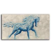 YaSheng Art -Animal Oil Painting on Canvas Texture 3D Horse Paintings Modern Home Sitting Living Room Decor Abstract Artwork Picture Canvas Wall Art. Framed Ready to Hang 24x48inch