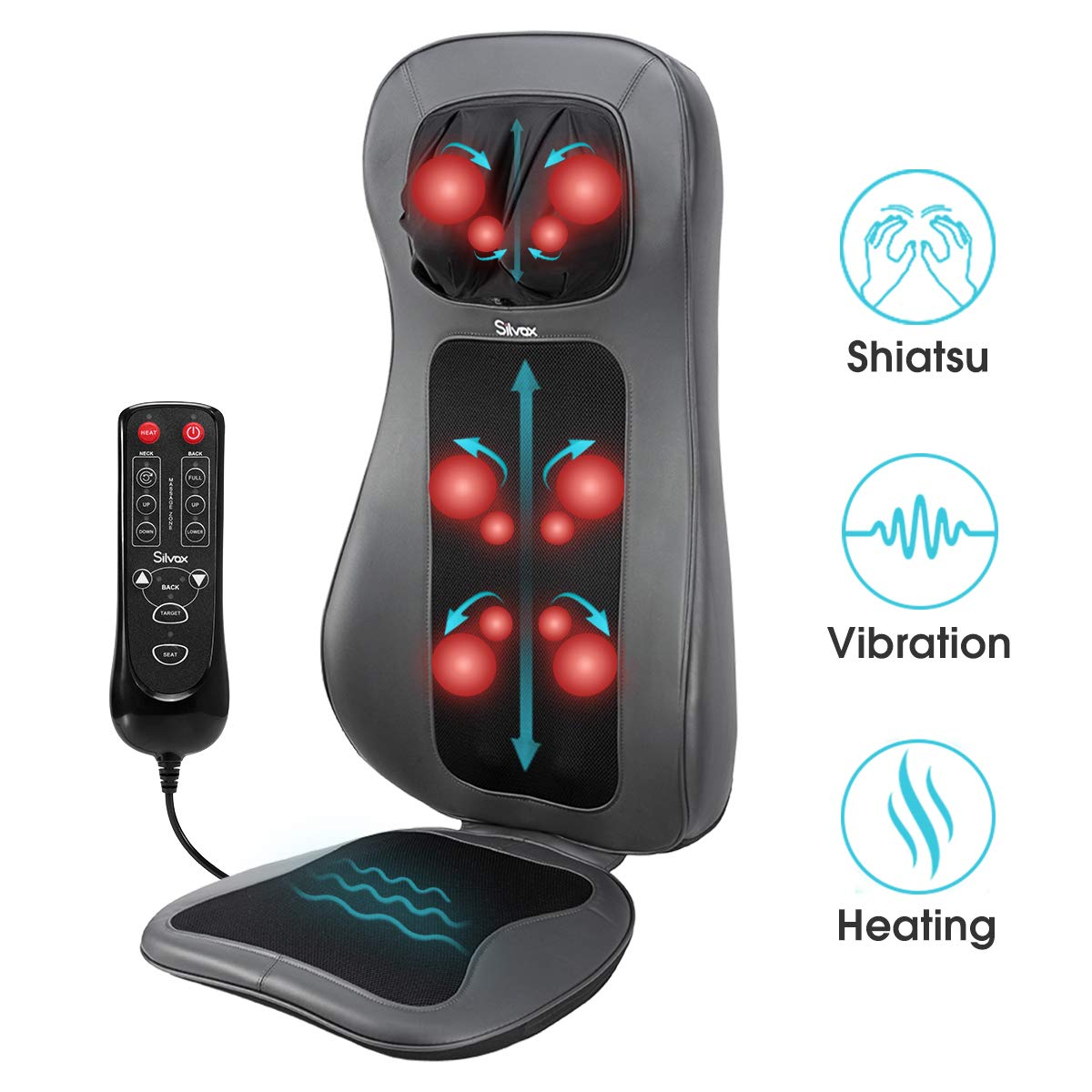 Silvox Shiatsu Neck Back Massager with Heat - Massage Chair Pad with 12 Deep Tissue Kneading Nodes, Neck Height Adjustable, Vibration on Seat Cushion, Relieve Muscle Pain - Office, Home Car