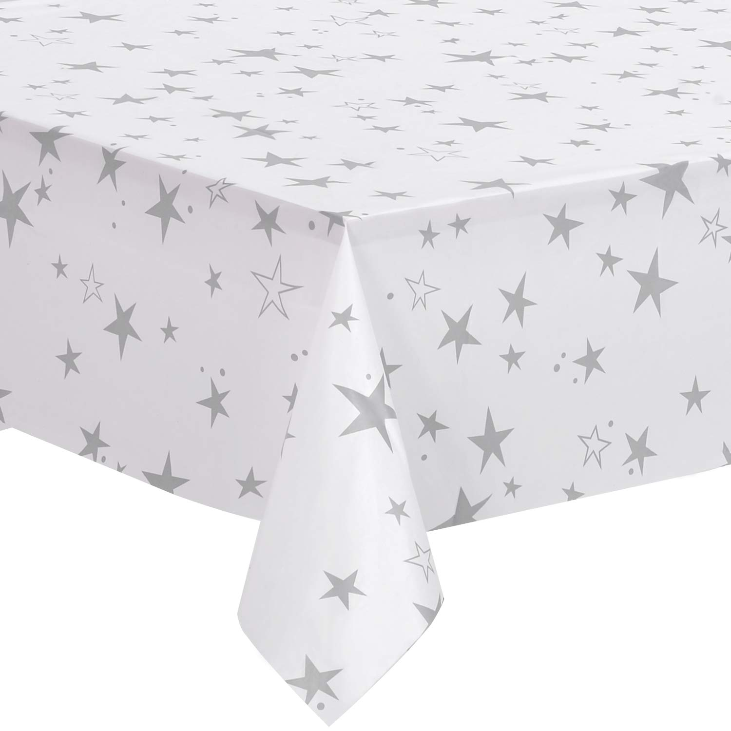 """Nice Kitchen 12 Pack Plastic Tablecloths for Rectangle Table, Disposable Table Cloth Cover, White and Grey Cute Star, 54""""x108"""""""