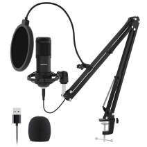 USB Streaming Podcast PC Microphone, SUDOTACK professional 192KHZ/24Bit Studio Cardioid Condenser Mic Kit with sound card Boom Arm Shock Mount Pop Filter, for Skype YouTuber Karaoke Gaming Recording