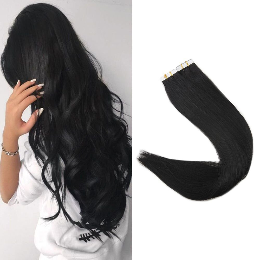 """Full Shine 16"""" Straight Human Hair Tape Hair Extensions Jet Black Color #1 100 Grams 40 Pieces Remy Skin Weft Hair Extensions"""