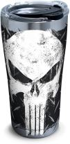 Tervis 1292882 Marvel-Punisher Insulated Tumbler with Clear and Black Hammer Lid, 20 oz Stainless Steel, Silver