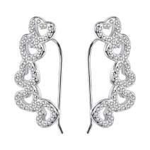 AoedeJ Bar Shape Ear Crawler Hoop Cuffs Earrings Sterling Silver Cubic Zirconia Ear Climber Earrings for Women