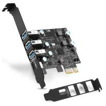 PCI-E USB C Card 4-Ports(1x USB-C - 3X USB-A) USB 3.0 Expansion Card,Internal Converter for Desktop PC Host Card,Support Windows 10/8/7/XP and MAC OS 10.8.2 Above