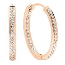 Dazzlingrock Collection 0.23 Carat (ctw) 18K Gold Round White Diamond Ladies Hoop Earrings 1/4 CT