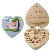 Baby Tooth Box, Wooden Kids Tooth Box,Baby Save Boxes Keepsake for Children,Cute Personality Baby Heart Shape Teeth Box (Blue Heart Box)