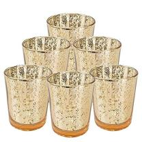 """Just Artifacts Mercury Glass Votive Candle Holder 2.75"""" H (6pcs, Speckled Gold) -Mercury Glass Votive Tealight Candle Holders for Weddings, Parties and Home Decor"""